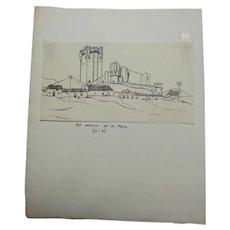Castillo de la Mota - artwork for travelogue Castillian Ocre (1933) by Richard Pearsall