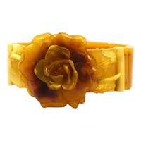 Butterscotch Celluloid Stretch bracelet with Deeply Carved Rose Center