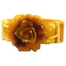 Butterscotch Celluloid Stretch bracelet with Deeply Carved Rose Center