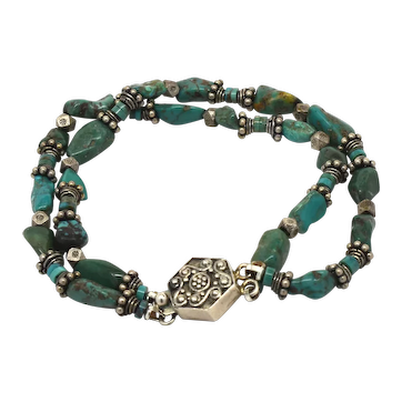Sterling Silver Pawn Silver and Turquoise Nugget Two Strand Bracelet