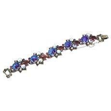 Signed Florenza Amethyst Rhinestone bracelet