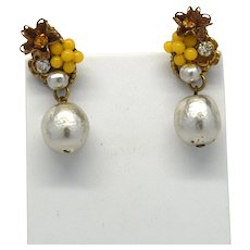Signed Miriam Haskell Faux Baroque Pearl earrings