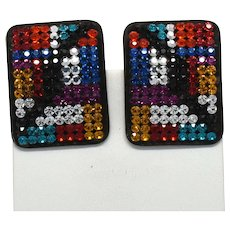 "Signed ""demaria"" De Maria Italy multi colored rhinestone clip on earrings 1980s"