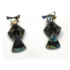 Mexican Sterling & Alpaca Abalone Articulated Doll Dangle Earrings