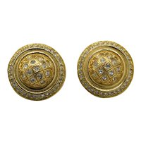 Signed Christian Dior Germany Rhinestone Gold Plated Button Earrings