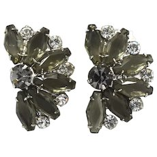 D&E Juliana Crystal Hexagon Coffin Rhinestone Earrings Black Diamond