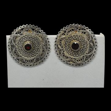 Jerusalem Israel 935 Silver Filigree & Garnet Earrings