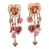 Signed Lunch at the Ritz Valentine's Heart charm earrings
