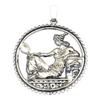 Bezalel 935 Israel Silver Esther Round Pendant