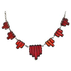 Art Deco Red Vauxhall Stepped Glass Molded Stone Choker Paper Clip Chain Necklace
