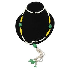 Art Deco Uranium Czech Glass Bead Sautoir Flapper Necklace