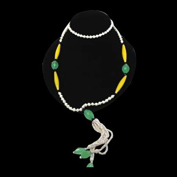Art Deco Uranium Czech Glass Bead Sautoir Flapper Necklace