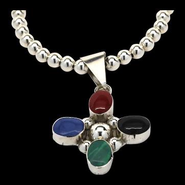 Signed Mexico Sterling Semi-Precious Cabochon Bead Necklace