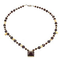 Garnet, 10k Gold and Sterling Silver Bead Necklace