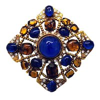 Authentic Chanel Gripoix Glass Brooch/Pendant - 1983