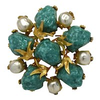 Signed HAR Flower Brooch Baroque Imitation Pearls and Jade Color Lava Stones