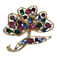 Signed Corocraft Sterling Dimensional Flower Pin Brooch with Multi-colored rhinestones