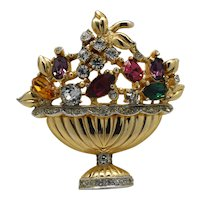 Signed Coro Pegasus Fruit Basket rhinestone figural pin brooch