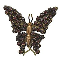 Antique Bohemian Garnet Butterfly Figural brooch pin 9K accent