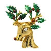 Signed Hattie Carnegie Rudolph Reindeer Christmas Brooch Pin