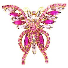 Large rhinestone Crystal Butterfly Brooch Pin in Pink and Purple