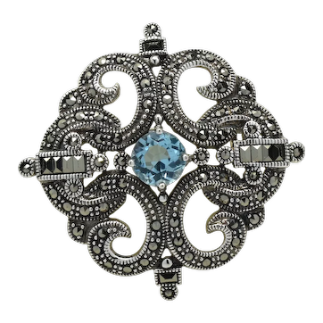 Sterling 925 Blue Topaz, Marcasite Fleur de Lis Brooch Pin