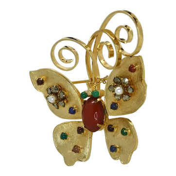 Signed Vendome Butterfly pin brooch with semi-precious stones