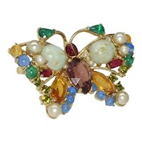 Signed Hollycraft Butterfly multi colored brooch with mixed stones