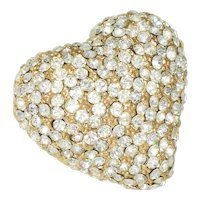 Signed Ciner Rhinestone Heart brooch