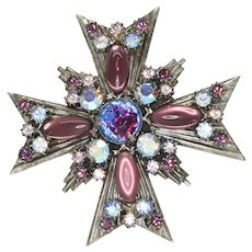 Signed Florenza Maltese Cross Brooch and Pendant