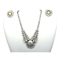 Signed Weiss rhinestone and faux pearl necklace and earrings set