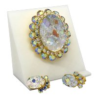"D&E Juliana Crystal AB ""Geode"" Brooch and earrings set"