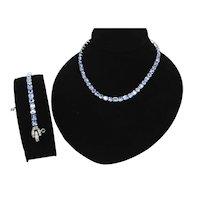 Signed Mazer Bros. Rhinestone necklace and bracelet set