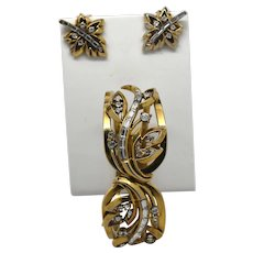 "Signed Crown Trifari Alfred Philippe hinge clamper bracelet and clip on earrings ""Golden Leaves"""