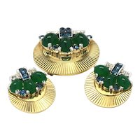 Signed Boucher Fluted Fur Clip and Earring Set Blue and Green Rhinestones