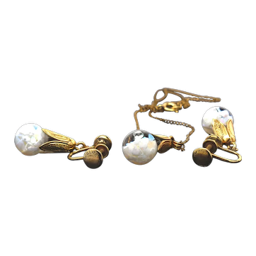 Signed Opalite Gold Filled Floating Opal Necklace Pendant and Earring Set