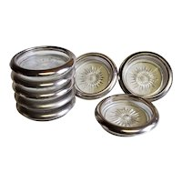 Set of 8 Glass and Silver Plated Coasters