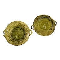 PAIR Olive Green 2-Handled Indiana Glass Honeycomb Bowls