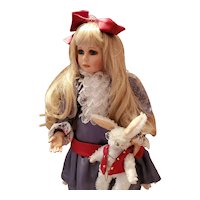 """GORGEOUS Alice in Wonderland 23"""" Doll, Rabbit Seymour Mann Jessica George Signed, numbered Connoisseur Collection"""