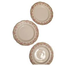 3 Bavarian China bread plates with pink rose swag design