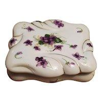 Norcrest porcelain cigarette holder/ trinket box Japan violets
