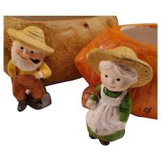 Rare set: Baked Potato and Carrot Shaped Bowls Enesco Farmers