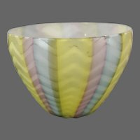 Quilted Rainbow Satin Glass Bowl