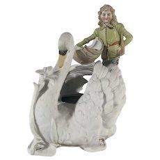 Bisque Figurine Boy and Swan