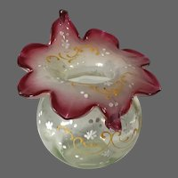 Victorian Art Glass Jack in the Pulpit Rose Bowl