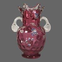 Cranberry Moser Style Enameled Ruffle Top Vase