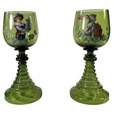 Pair of Victorian Enameled Goblets