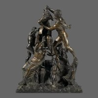 Neoclassical Grand Tour Bronze People with Bull + Dog