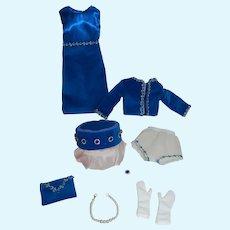 Dress Jacket + Hat Purse in Vintage Blue Velvet + Accessories for Vintage Cissy