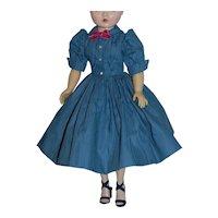 "Shirtwaist Dress of Blue Cotton Moire for Vintage Cissy 20"" Doll"
